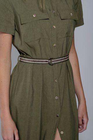 vestito verde midi chemisier viscosa-lino Angelico