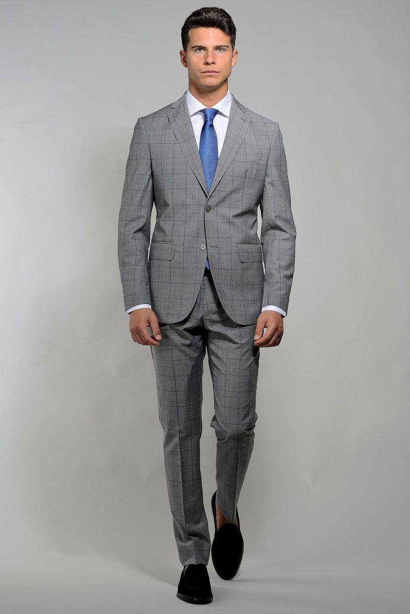 abito grigio chiaro finestrato blu slim Angelico