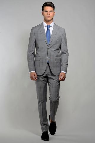 Light grey suit  blue check merinos slim Angelico