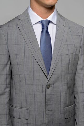 light grey suit  blue check merinos slim Angelico