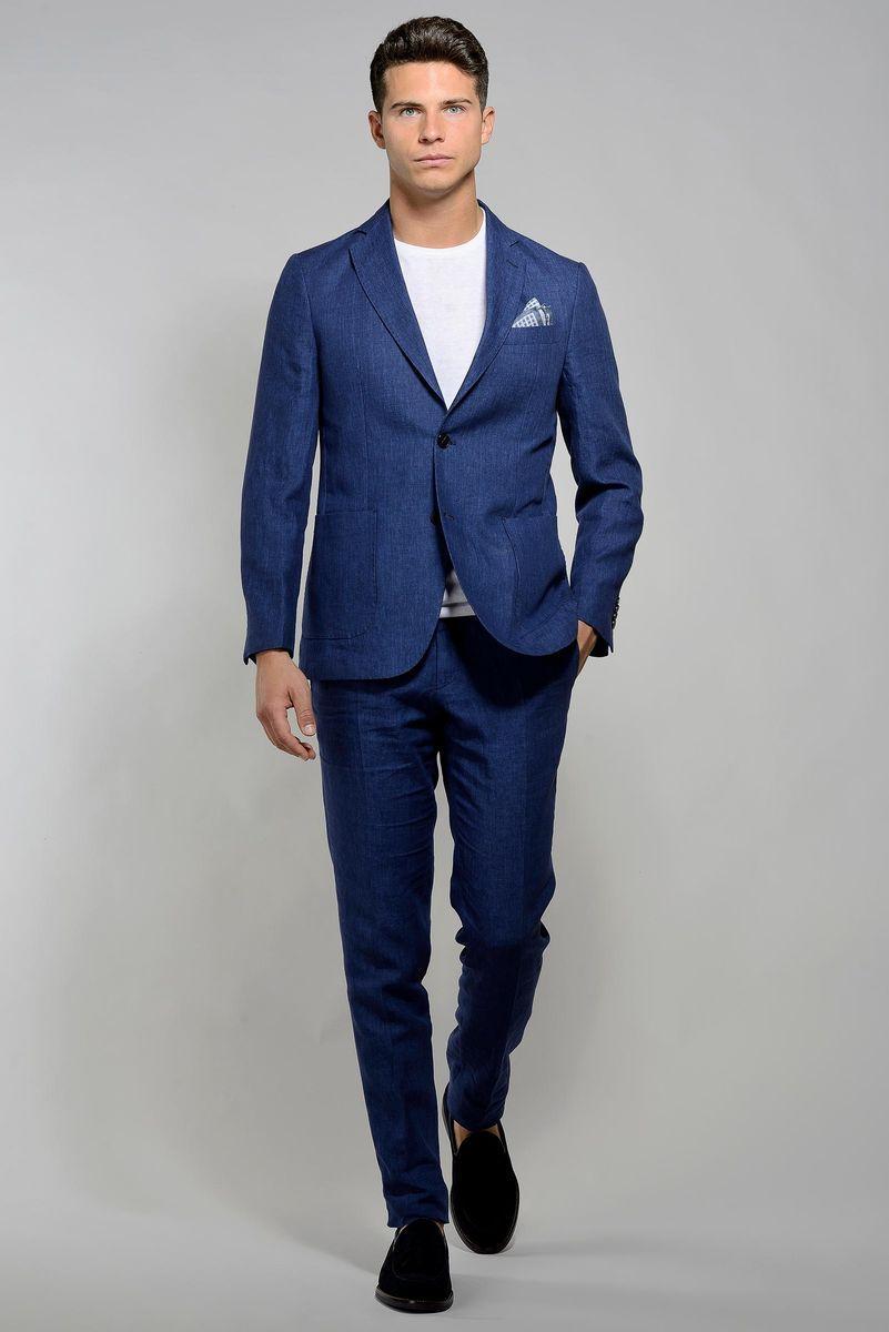 abito bluette lino sfoderato slim Angelico