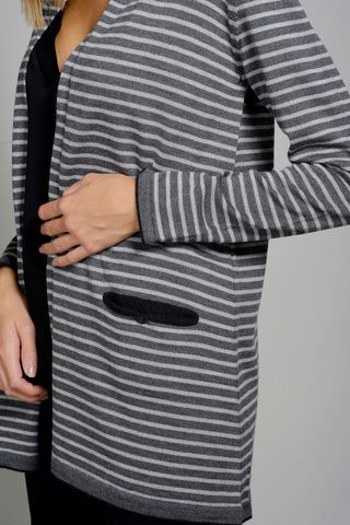 open gray striped sweater shawl collar Angelico