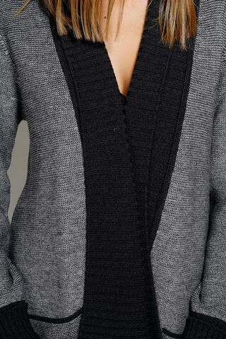black cardigan with shawl collar. Angelico
