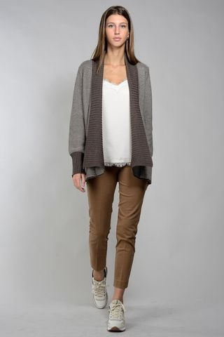 brown cardigan with shawl collar Angelico