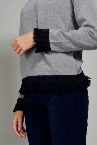 maglia girocollo grigia bordi blu frange merino Angelico