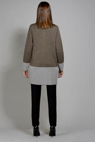 giacca maglia lunga tortora inserto beige Angelico