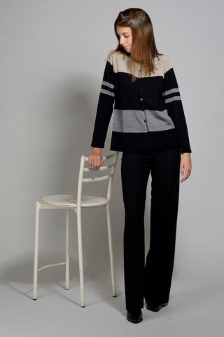 black-beige cardigan wide stripes merino Angelico