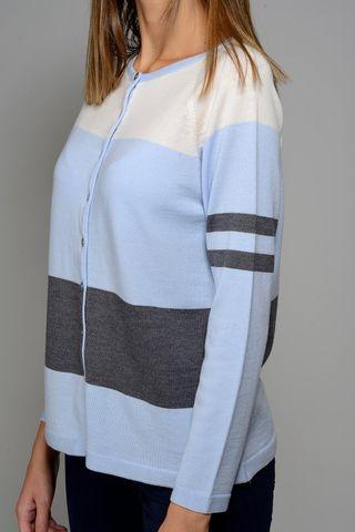 white-azure cardigan wide stripes merino Angelico