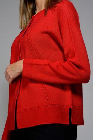 red merino cardigan knit stitches Angelico