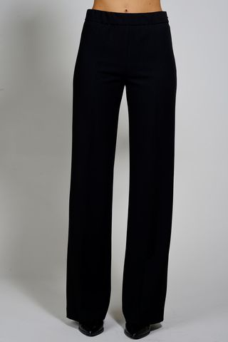 wide black crepe trousers Angelico