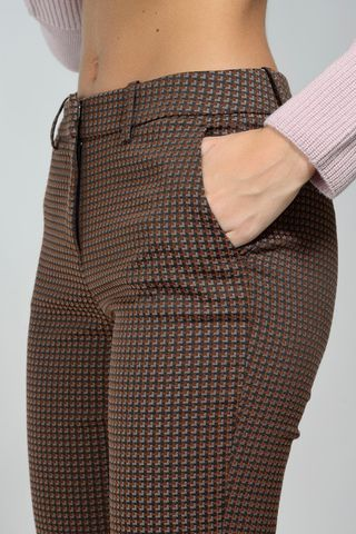 brown patterned trousers with turn-up Angelico