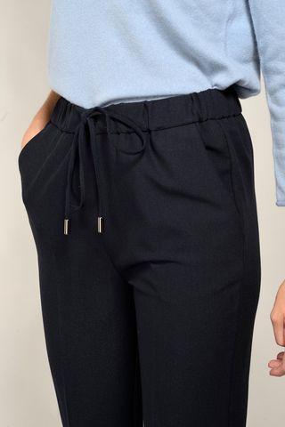 pantalone blu crepe coulisse e risvolto Angelico