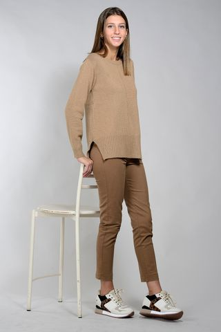camel wool-cachemire sweater with slits Angelico