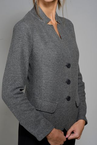 gray stretch sweatshirt jacket Angelico