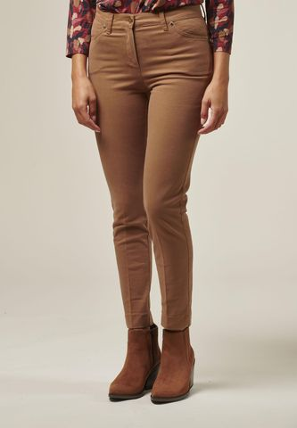 camel chinos trousers side slits Angelico