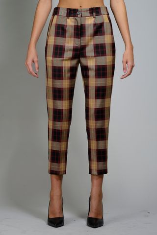 wales burgundy-beige cigarette trousers Angelico