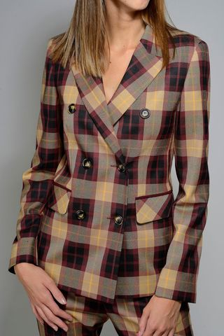 double-breasted burgundy tartan jacket Angelico