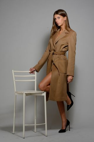 long camel unlined coat with belt Angelico