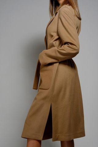cappotto cammello lungo cintura sfoderato Angelico