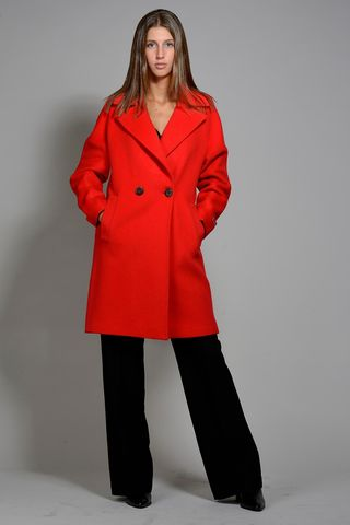 red woman coat piacenza fabric Angelico