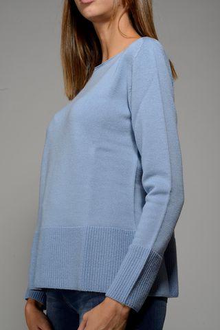 azure crewneck sweater merino high edges. Angelico