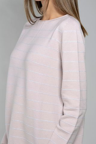 pink lurex-white striped sweater Angelico