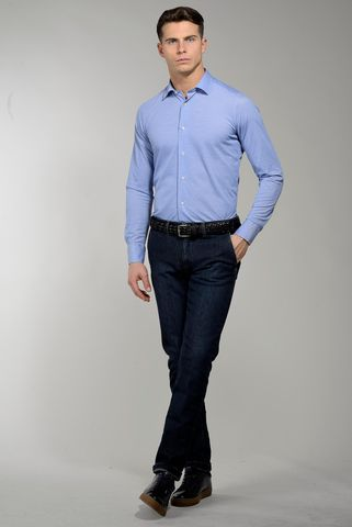 polo azzurra a camicia pique oxford Angelico