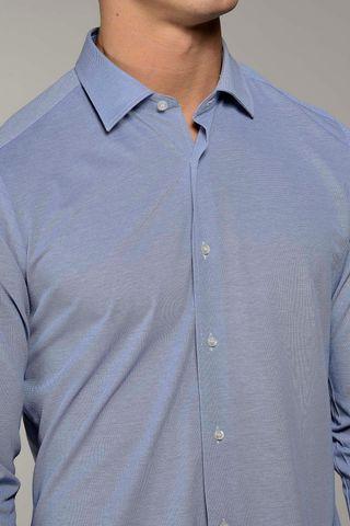 polo azzurra a camicia pique oxford Angelico