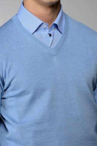 maglia v azzurra merino Angelico