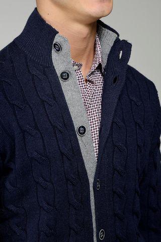 cardigan bottoni blu trecce lana-cachemire Angelico