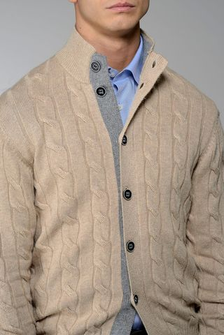 cardigan bottoni beige trecce lana-cachemire Angelico