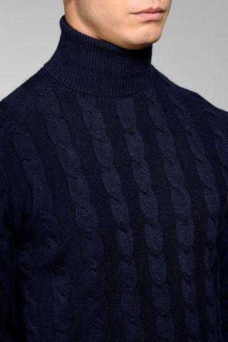 dolcevita blu trecce lana-cachemire Angelico