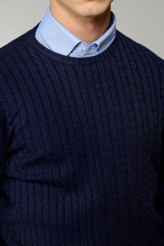 girocollo blu trecce lana-cachemire Angelico