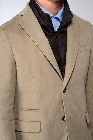 camel jacket fake bib and patches Angelico