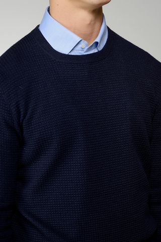 navy sweater checkered pattern Angelico