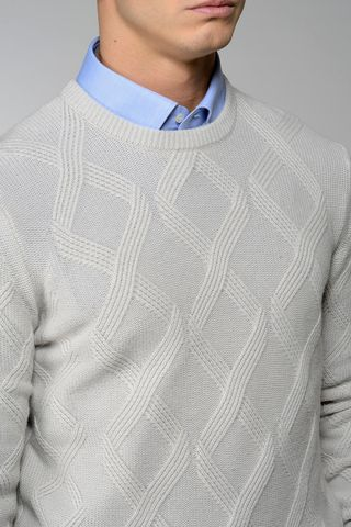 light grey sweater rhombus pattern Angelico