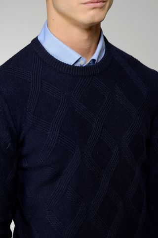navy sweater rhombus pattern Angelico