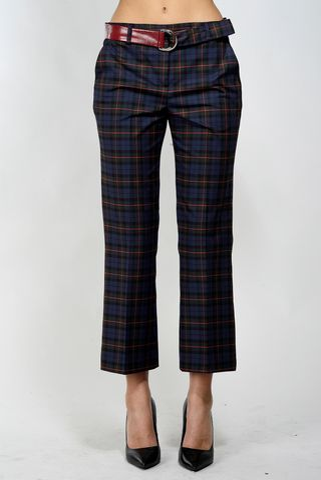 pantalone blu-verde quadri trombetta kocca Angelico