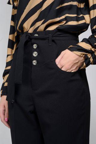 pantalone nero ampio vita alta cintura Angelico