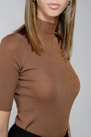 bronze wool-lurex turtleneck short sleeves Angelico