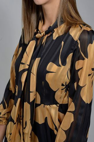 floral black-gold voile dress Angelico
