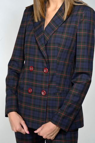 double-breasted navy-green tartan jacket Angelico