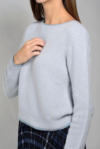 maglia azzurra corta angora bordo lurex Angelico