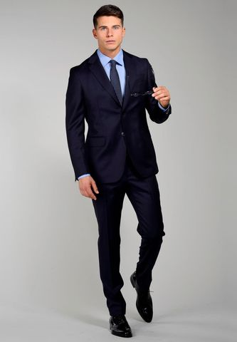 Dark navy suit sallia Tasmania wool Angelico