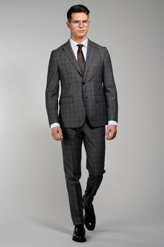 grey-brown checkered suit zignone slim Angelico