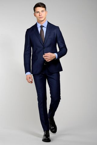 Navy suit bird-of-eyes slim Angelico