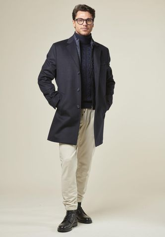 navy wool-cashmere coat with bib Angelico