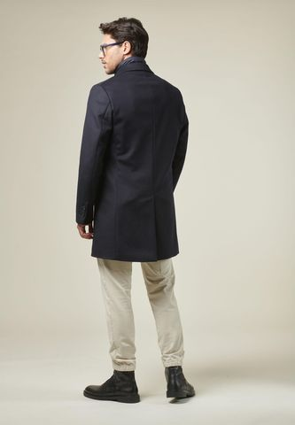 cappotto blu pettorina lana-cashmere Angelico