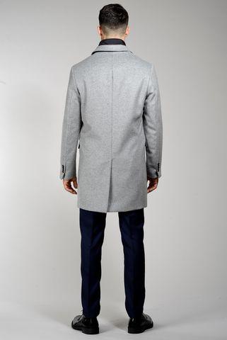 Cappotto grigio perla pettorina lana-cashmere Angelico