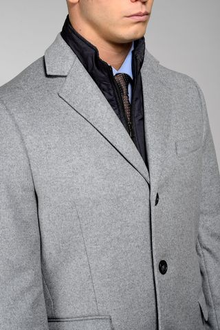 light grey wool-cashmere coat with bib Angelico